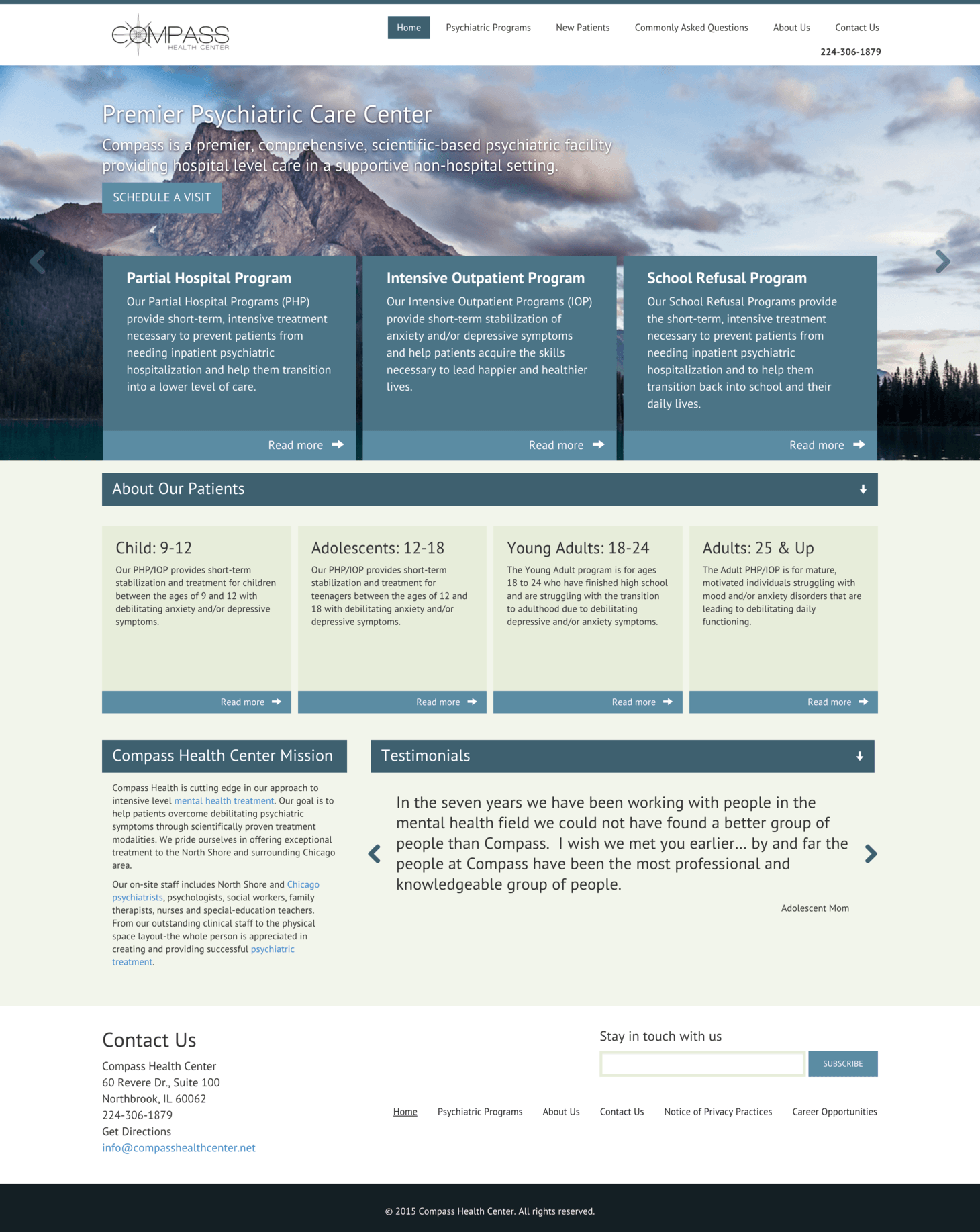 Desktop view of Compass Health Center website.